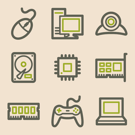 Computer web icons, vintage series Vector