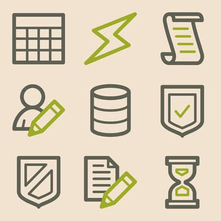 edit icon: Database web icons, vintage series Illustration