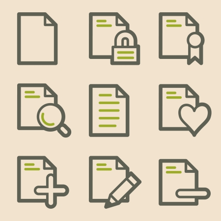 Document web icons, vintage series Vector