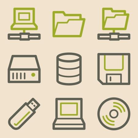fdd: Drive storage web icons, vintage series
