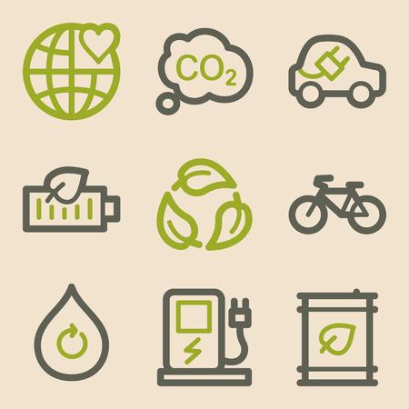 electro world: Ecology web icons, vintage series Illustration