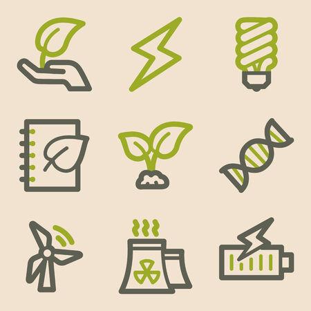 ahorro energia: Ecología web iconos, serie de la vendimia