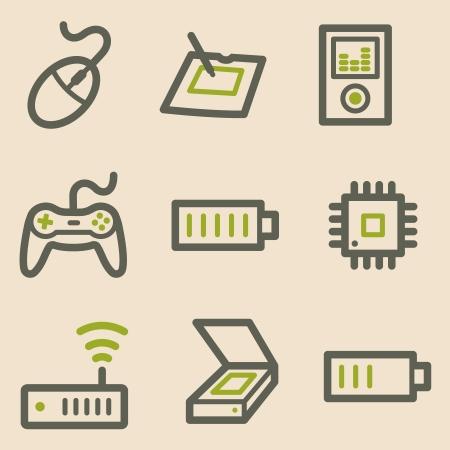 Electronics web icons, vintage series Vector