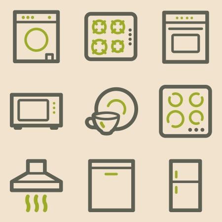 gas laundry: Home appliances web icons, vintage series Illustration