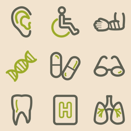 Medicine web icons, vintage series Vector