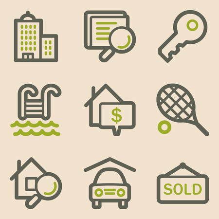 Real estate web icons, vintage series Stock Vector - 23079285