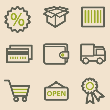 billfold: Shopping web icons, vintage series