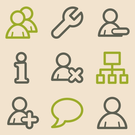 Users web icons, vintage series Vector