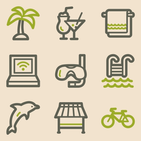 Vacation web icons, vintage series Vector