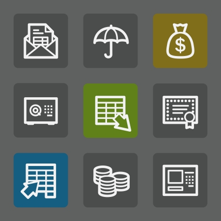 Banking web icons,  flat buttons Vector