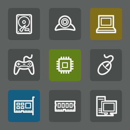 webcamera: Computer web icons, flat buttons Illustration