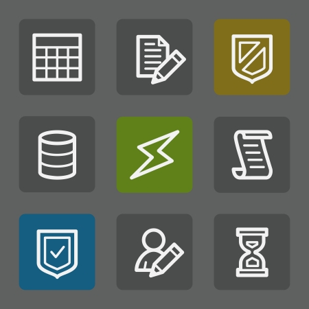 Database web icons, flat buttons Vector