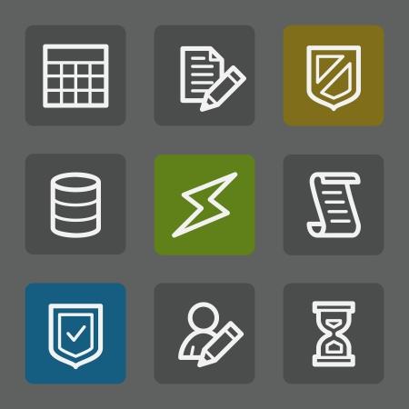 safety net: Database web icons, flat buttons Illustration
