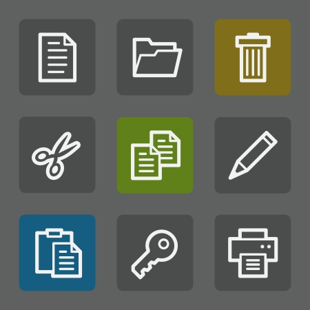 Document web icons set 1, flat buttons Vector