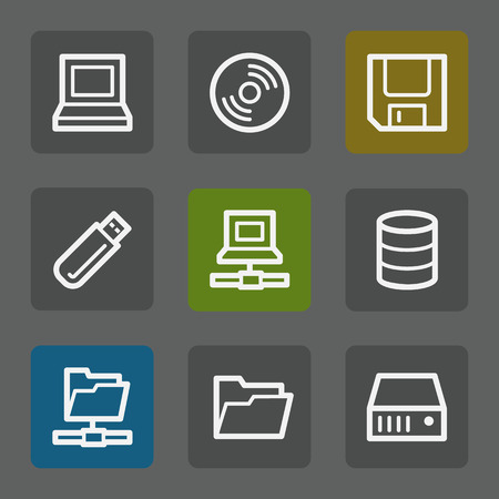 fdd: Drives and storage web icons, flat buttons