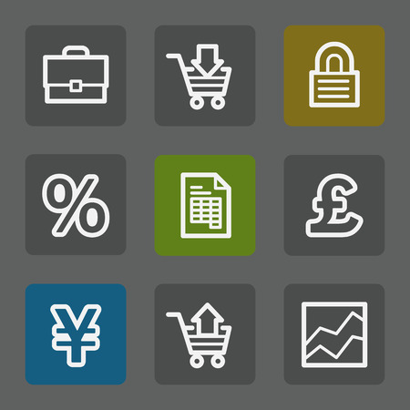 E-business web icons, flat buttons Vector