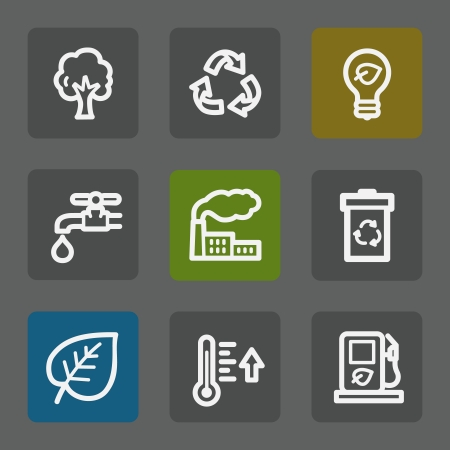 Ecology web icons set 1, flat buttons Vector