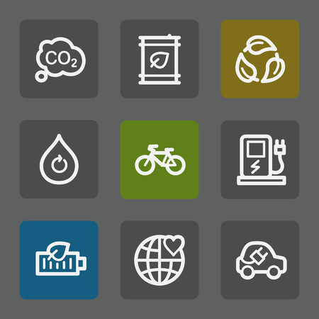 electro world: Ecology web icons set 4, flat buttons