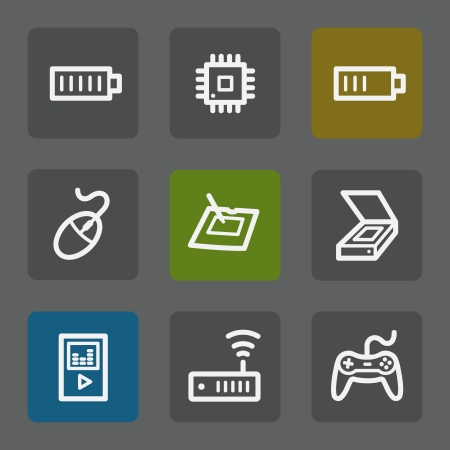 Electronics web icons set 2, flat buttons Vector
