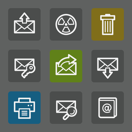 E-mail web icons set 2, flat buttons Vector