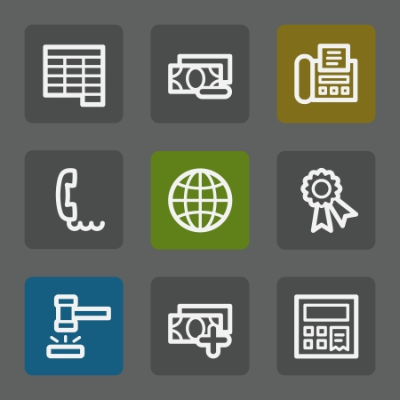 Finance web icons set 2, flat buttons Vector