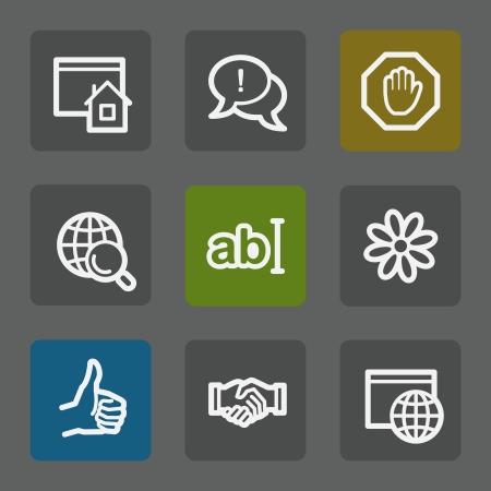 icq: Internet web icons set 1, flat buttons