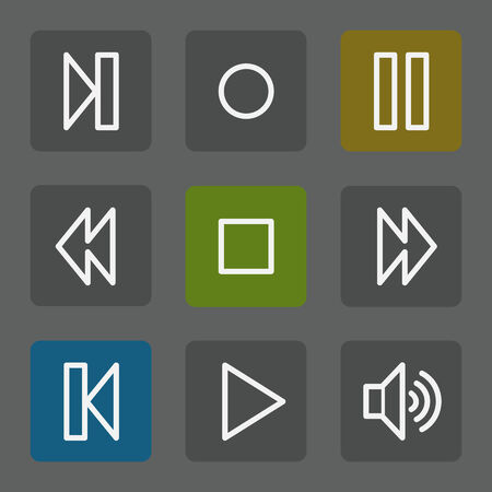 Media player web icons, flat buttons Vector