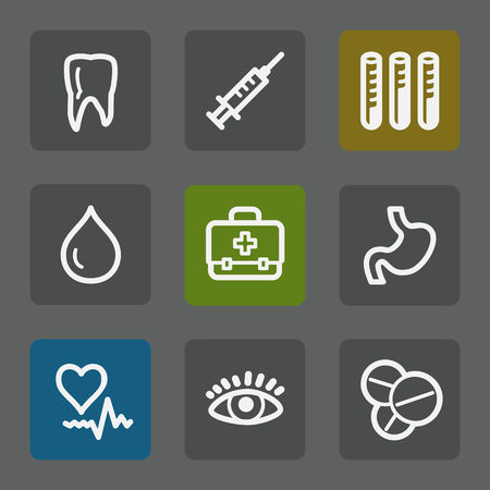 Medicine web icons set 1, flat buttons Vector