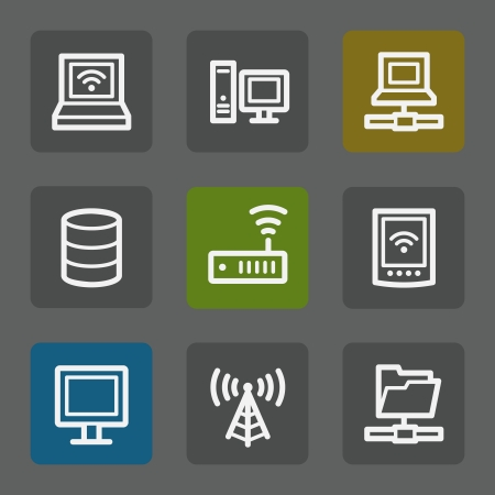nettop: Network web icons, flat buttons