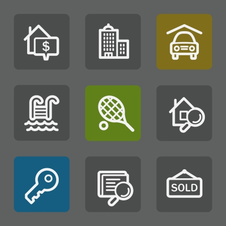 swimming pool home: Real estate web icons, flat buttons Illustration