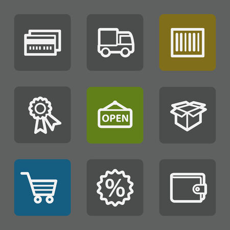 Shopping web icons set 2, flat buttons Vector