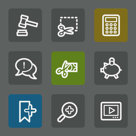 Shopping web icons set 3, flat buttons Vector