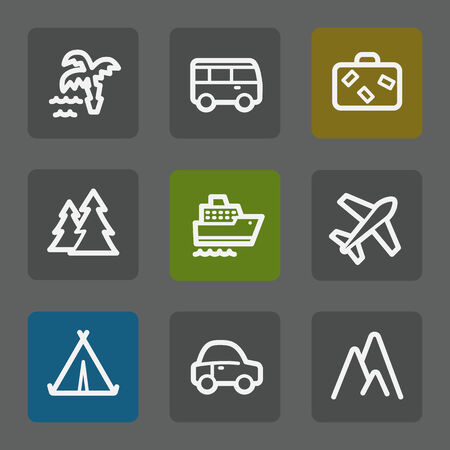 air liner: Travel web icons set 1, flat buttons