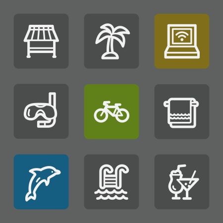 Vacation web icons, flat buttons Vector