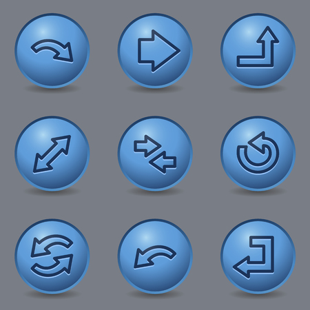 blue buttons: Arrows web icons, circle blue buttons