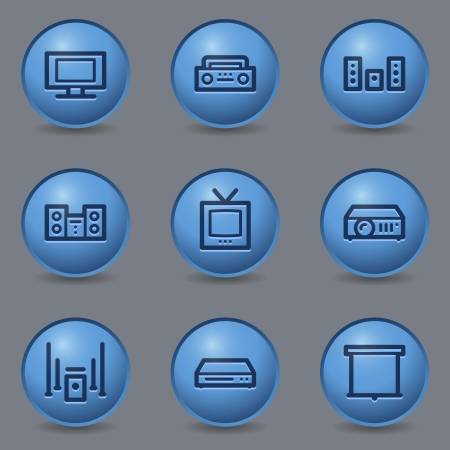 blue buttons: Audio video web icons, circle blue buttons
