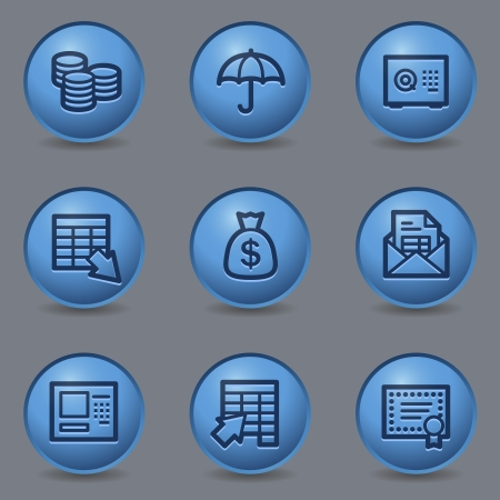 blue buttons: Banking web icons, circle blue buttons Illustration