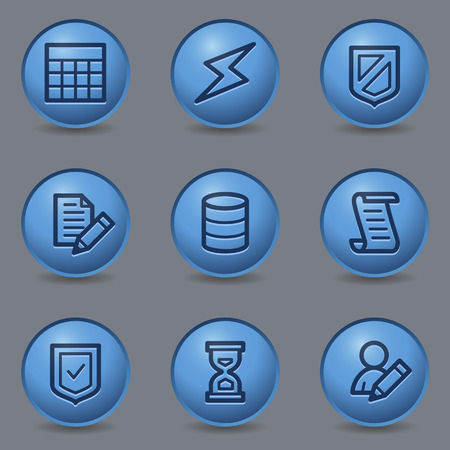 Database web icons, circle blue buttons Vector