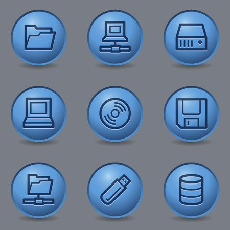 fdd: Drive storage web icons, circle blue buttons