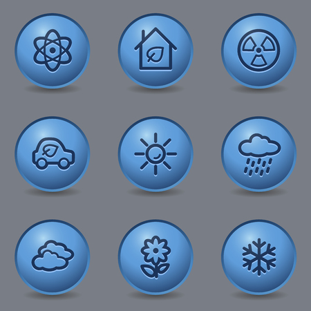 Ecology web icons, circle blue buttons Stock Vector - 23159597