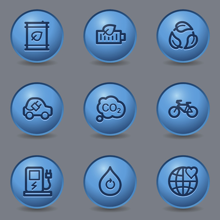 electro world: Ecology web icons, circle blue buttons