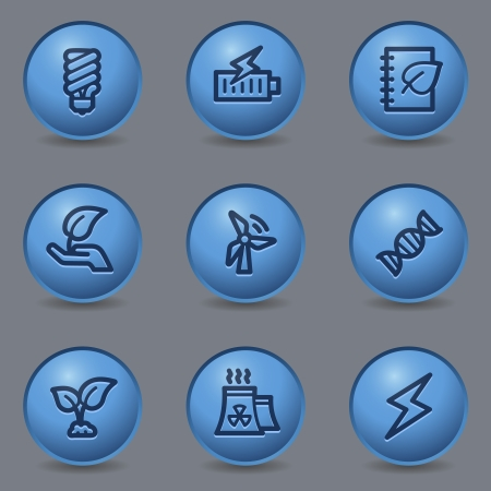 blue buttons: Ecology web icons, circle blue buttons