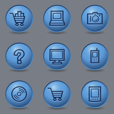 Electronics web icons, circle blue buttons Vector