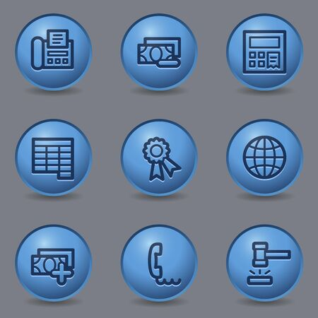 blue buttons: Finance web icons, circle blue buttons