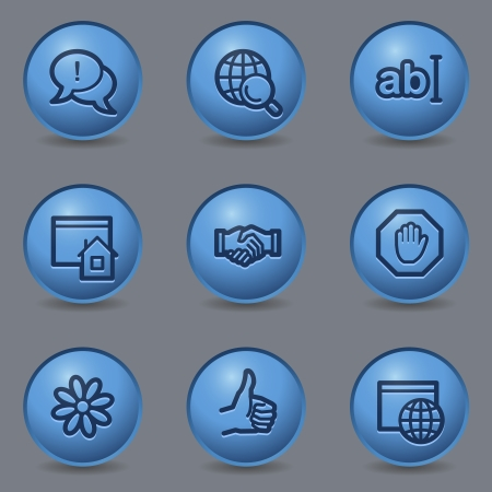 Internet web icons, circle blue buttons Vector