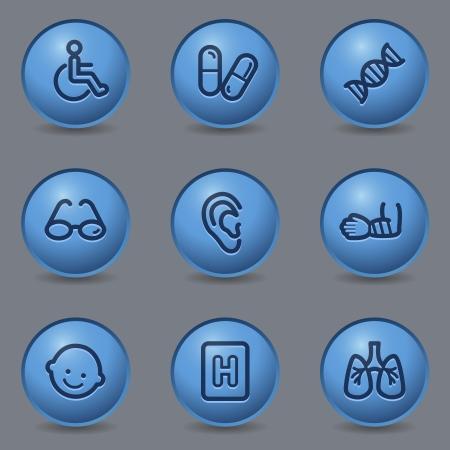 kinder: Medicine web icons, circle blue buttons
