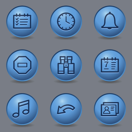 blue buttons: Organizer web icons, circle blue buttons