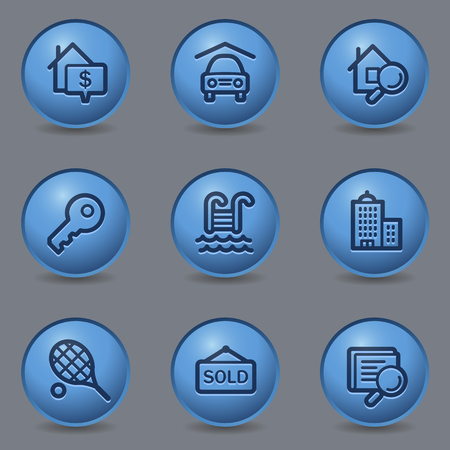 Real estate web icons, circle blue buttons Stock Vector - 23159648
