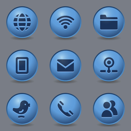 webcamera: Communication web icons, circle blue buttons Illustration