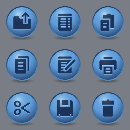 blue buttons: Document web icons, circle blue buttons